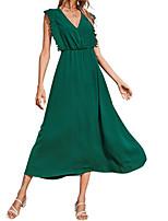 cheap -Women's Chiffon Dress Maxi long Dress Green Sleeveless Solid Color Ruched Summer V Neck Elegant 2021 XS S M L XL