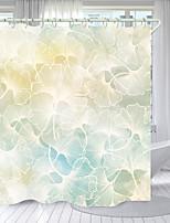 cheap -Light White Yellow Fan Leaf Digital Printing Shower Curtain Shower Curtains  Hooks Modern Polyester New Design