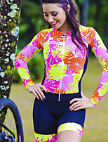cheap -Women's Long Sleeve Triathlon Tri Suit Summer Green / Yellow Bike Sports Lines / Waves Clothing Apparel