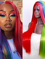 cheap -Hair Rainbow Color Synthetic Wig Cheap Straight Full Machined Wig Heat Resistant Synthetic Cosplay Wigs For Black Women
