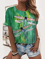 cheap -Women's Painting T shirt Graphic Print Round Neck Basic Tops Green