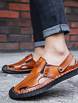 cheap -Men's Sandals Flat Sandals Hand Stitching Casual Daily Water Shoes Upstream Shoes PU Breathable Handmade Non-slipping Black Brown Summer