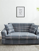 cheap -Gray Grid Print Dustproof All-powerful  Stretch Sofa Cover Super Soft Fabric  with One Free Boster Case