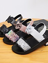 cheap -Girls' Sandals Comfort Flower Girl Shoes Princess Shoes PU Big Kids(7years +) Daily Home Walking Shoes Bowknot Black Pink Silver Spring Summer