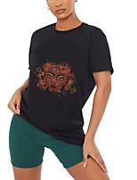 preiswerte -Damen T-Shirt Grafik Porträt Druck Rundhalsausschnitt Oberteile 100% Baumwolle Grundlegend Basic Top Schwarz Grün