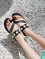 cheap -Women's Sandals Flat Heel Faux Leather Black Silver