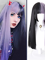 cheap -Long Straight Lolita Cosplay Wigs for Women Half Black Half Purple Synthetic False Hair with Bangs Halloween Party Wig Blunt Cut Bob