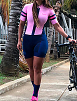 cheap -Women's Men's Short Sleeve Cycling Jersey with Shorts Triathlon Tri Suit Pink Patchwork Bike Quick Dry Breathable Sports Patchwork Mountain Bike MTB Road Bike Cycling Clothing Apparel / Stretchy