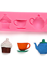 cheap -Mold for Baking Teapot Cup Afternoon Tea Cake Silicone Mold Sugar Chocolate Cake Decoration Tool Kitchen Baking Tools
