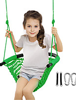 cheap -Swing Seat for Kids, Children Swing Set Kids Swing Adjustable Rope Child Swing Hand-Knitting Rope Swing Chair for Indoor, Outdoor, Tree, Backyard, Room, Porch, Playground (Green/Orange)