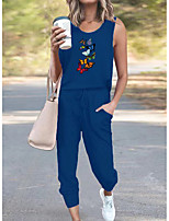 cheap -Women Basic Streetwear Butterfly Vacation Casual / Daily Two Piece Set Tank Top Tracksuit Pant Loungewear Jogger Pants Drawstring Print Tops