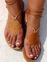 cheap -Women's Sandals Boho Bohemia Beach Flat Heel Round Toe PU Synthetics Light Brown Gold