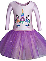 cheap -girls' 3/4 sleeve leotard dance ballet dress kids' sparkle tutu skirt and waistband(6-8 y,unicorn)