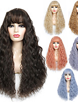 cheap -Curly Synthetic Wig with Bangs Wave Long Hair Wigs Heat Resistant Cosplay Wig for Black Women African American 6 Colored