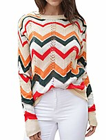 cheap -women off the shoulder sweater casual stripe knitted loose long sleeve pullover