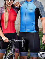 cheap -Women's Men's Short Sleeve Triathlon Tri Suit Summer Red Blue Patchwork Bike Quick Dry Breathable Sports Patchwork Mountain Bike MTB Road Bike Cycling Clothing Apparel / Stretchy / Athletic