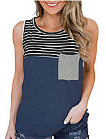 cheap -Women's Tank Top Striped Round Neck Tops Basic Top White Black Blushing Pink