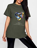cheap -Women's T shirt Graphic Geometric Print Round Neck Tops 100% Cotton Basic Basic Top Black Army Green