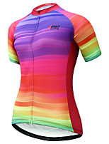 cheap -JESOCYCLING Women's Short Sleeve Cycling Jersey Summer Red Rainbow Bike Jersey Mountain Bike MTB Road Bike Cycling Quick Dry Breathable Back Pocket Sports Clothing Apparel / Stretchy / Sweat wicking