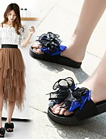 cheap -Women's Sandals Flat Heel Round Toe Polyester Bowknot Lace Solid Colored Blue Green