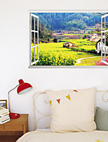 cheap -3D False Window New Wall Paste Farm Rape Flower Field Home Corridor Background Decoration Can Be Removed Stickers