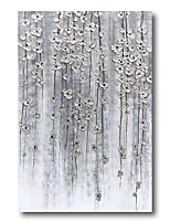 cheap -Stretched Oil Painting Hand Painted Canvas Abstract Comtemporary Modern High Quality Silver Blossom Ready to Hang