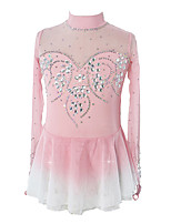 cheap -Figure Skating Dress Women's Girls' Ice Skating Dress Pink Patchwork Asymmetric Hem Spandex High Elasticity Competition Skating Wear Crystal / Rhinestone Long Sleeve Ice Skating Figure Skating / Kids