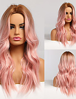 cheap -Middle Part Long Natural Wave Hair Synthetic Wigs Golden Brown Pink Cosplay Wigs for Black Women Heat Resistant