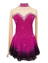 cheap -Figure Skating Dress Women's Girls' Ice Skating Dress Rose Red Patchwork Asymmetric Hem Spandex High Elasticity Competition Skating Wear Crystal / Rhinestone Long Sleeve Ice Skating Figure Skating