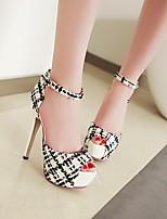 cheap -Women's Sandals Stiletto Heel Peep Toe PU Synthetics Almond White Black