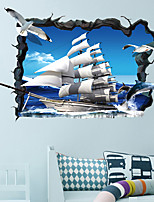 cheap -3D Broken Wall Gull Sailboat Home Hallway Background Decoration Can Be Removed Stickers