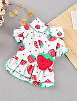 cheap -Dog Cat Dress Strawberry Fruit Basic Adorable Cute Casual / Daily Dog Clothes Puppy Clothes Dog Outfits Breathable Red Costume for Girl and Boy Dog Cotton Fabric S M L XL XXL