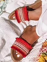 cheap -Women's Sandals Flat Heel Round Toe Rubber Tassel Color Block Almond Red