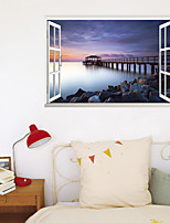 cheap -3D False Window New Wall Stickers Nordic Scenery Dock Home Corridor Background Decoration Can Be Removed Stickers