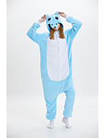 cheap -Adults' Kigurumi Pajamas Hippo Onesie Pajamas Flannelette Blue Cosplay For Men and Women Animal Sleepwear Cartoon Festival / Holiday Costumes