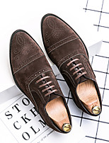 cheap -Men's Oxfords Suede Shoes Printed Oxfords Bullock Shoes Business Daily Walking Shoes Suede Breathable Non-slipping Wear Proof Black Brown Spring