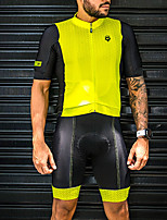 cheap -Women's Men's Short Sleeve Cycling Jersey with Shorts Black / Yellow Bike Quick Dry Breathable Sports Mountain Bike MTB Road Bike Cycling Clothing Apparel / Stretchy / Athletic