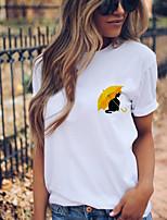 cheap -Women's T shirt Animal Print Round Neck Tops 100% Cotton Basic Basic Top Red Yellow Green