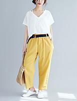 cheap -Women's Basic Streetwear Comfort Going out Weekend Bootcut Pants Plain Full Length Pocket Elastic Waist Yellow