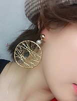 cheap -Women's Hoop Earrings Geometrical Tire Stylish Trendy Earrings Jewelry Gold For Party Wedding 1 Pair