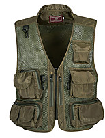 cheap -Men's Hiking Vest / Gilet Fishing Vest Sleeveless Vest / Gilet Jacket Top Outdoor Quick Dry Lightweight Breathable Sweat wicking Autumn / Fall Spring Summer Army Green (Lallian) Great Desert (button