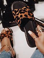 cheap -Women's Slippers & Flip-Flops Flat Heel Open Toe PU Leopard Leopard Black