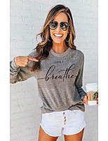 cheap -Women's T shirt Letter Long Sleeve Round Neck Tops Basic Basic Top Gray