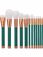 cheap -makeup brushes set 15pcs wood handles soft nylon hair brush cosmetic blending powder concealer lip eyeshadow eyelash face brush (green)