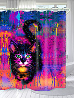 cheap -Psychedelic Little Black Cat Digital Printing Shower Curtain Shower Curtains Hooks Modern Polyester New Design
