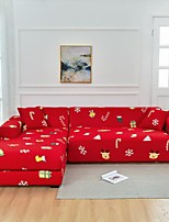 cheap -Red Christmas Dustproof All-powerful  Stretch L Shape Sofa Cover Super Soft Fabric  Sofa Furniture Protector with One Free Boster Case