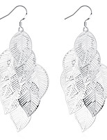 cheap -Women's Drop Earrings Dangle Earrings Tassel Fringe Leaf Precious Fashion Silver Plated Earrings Jewelry Silver For Christmas Party Evening Street Gift Date 1 Pair