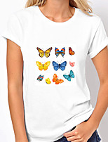 cheap -Women's T shirt Graphic Butterfly Print Round Neck Tops 100% Cotton Basic Basic Top White Blue Yellow
