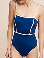 cheap -Women's One Piece Monokini Swimsuit High Waist Push Up Open Back Solid Color Color Block Blue Purple Army Green Swimwear Padded Strap Bathing Suits New Casual Fashion / Modern / Cross