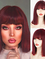 cheap -Synthetic Wig Natural Straight Neat Bang Wig Short Wine Red Synthetic Hair Women's Cosplay Party Fashion Burgundy Blunt Cut Bob